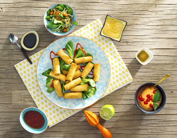 Asian Vegetables combination with Spring Rolls