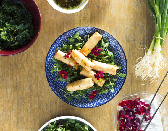 Combination Vegetables and Asian Spring Rolls
