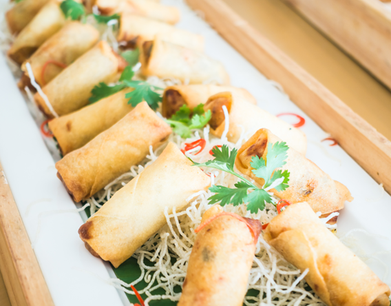 Catering event platter duck spring rolls